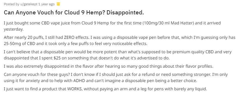 Cloud 9 Hemp CBD Oil reddit review