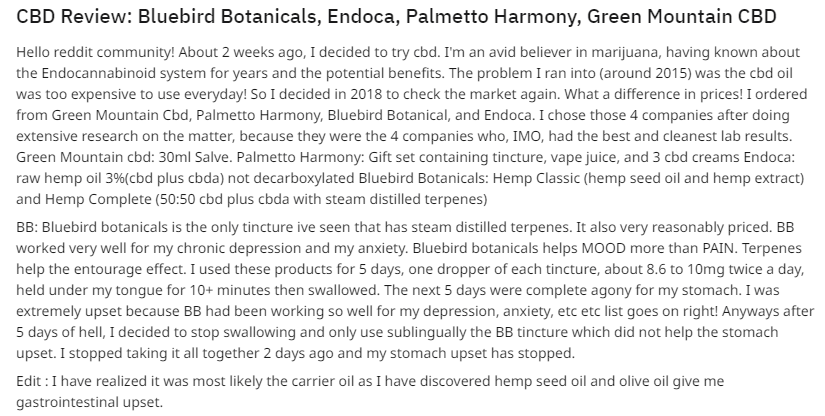Bluebird Botanicals CBD Oil review