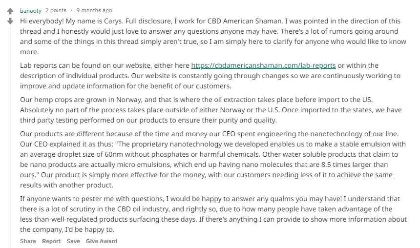 American Shaman CBD Oil review A