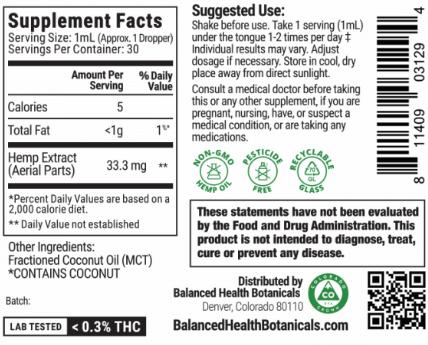 Full Spectrum CBD Tincture supplement facts