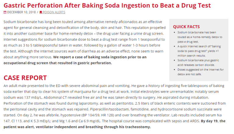 Dangerous baking soda case