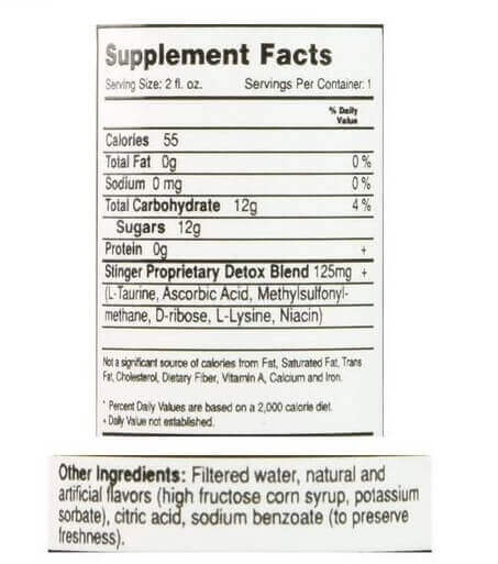 Stinger Detox Mouthwash Supplement Facts