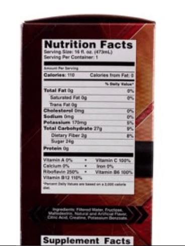 Rapid Clear Detox Drink Nutrition Facts