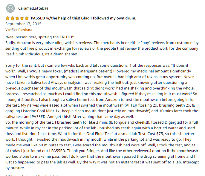 Stinger Detox Mouthwash Positive Review