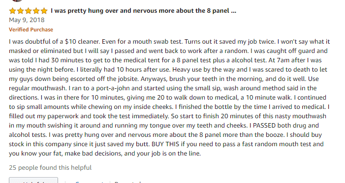 Stinger Detox Mouthwash Positive Review2